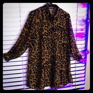 Women's Sheer long Leopard print Blouse